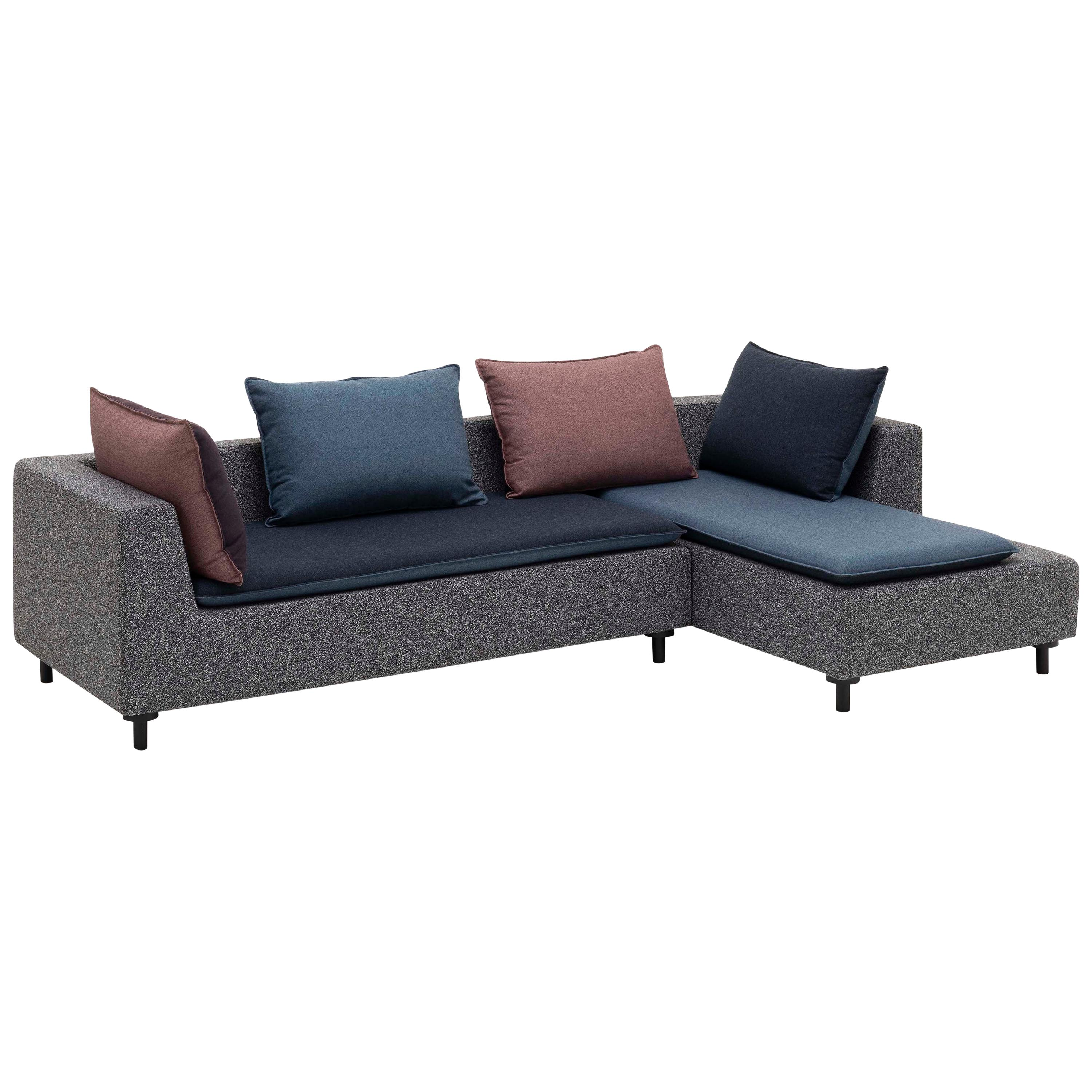 Established & Sons Barbican Sectional with Blue Cushions by Konstantin Grcic