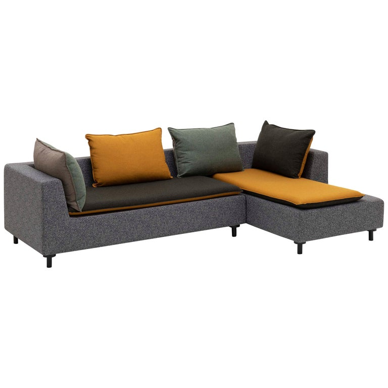 Established & Sons Barbican Sectional with Orange Cushions by Konstantin Grcic For Sale