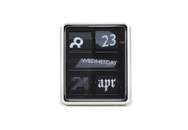 The iconic calendar clock, with its distinctive form and flip mechanism, has an established following in design circles. Sebastian Wrong deliberately increases our attraction to its retro look by introducing an ever-changing display. The font clock