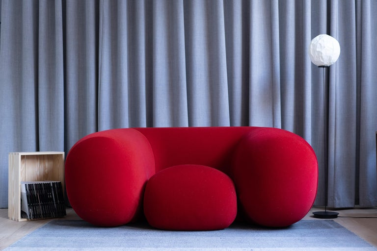 Contemporary Established & Sons Mollo Armchair in Red by Philippe Malouin For Sale