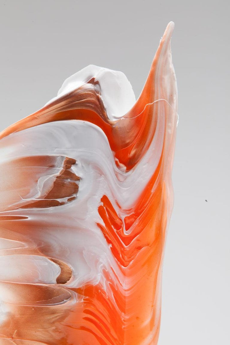 Modern Established & Sons Plume Vase in White with Orange Detail by Alessandro Cliffo For Sale