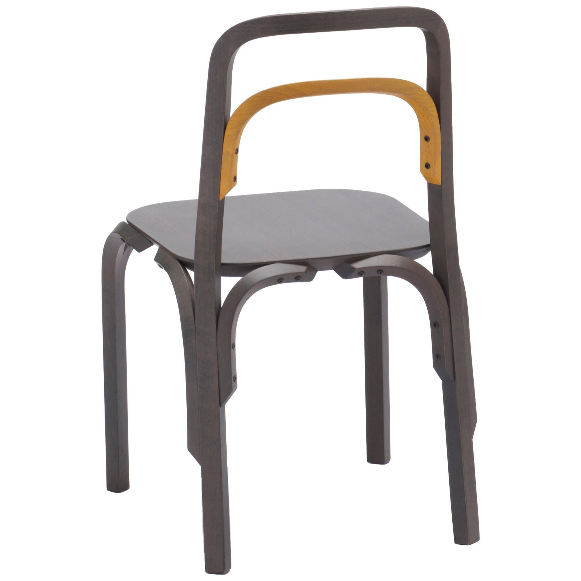 Established & Sons Sessel Chair in Gray Beech with Yellow Back by Martino Gamper