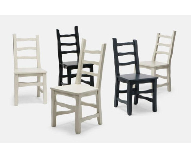 English Established & Sons Standard Unique Dining Chair in Black Grey For Sale