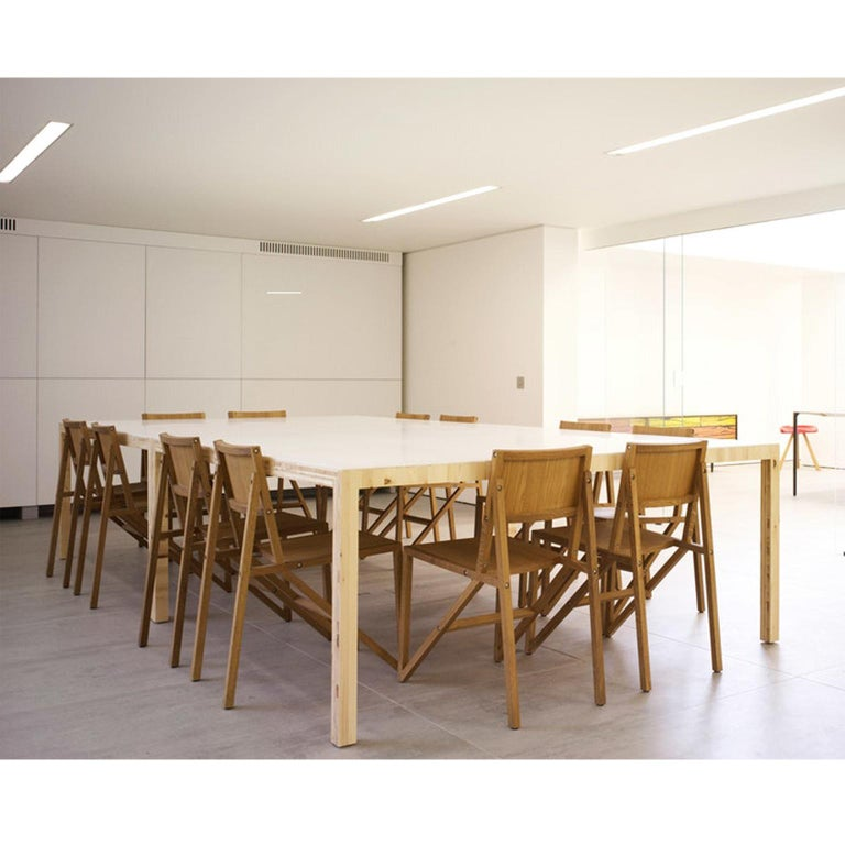 Modern Established & Sons Table in Playwood and White Corian by Caruso St John For Sale