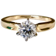 Vintage 0.75 Carat Natural Diamond Engagement Ring 18 Karat Gold & Platinum