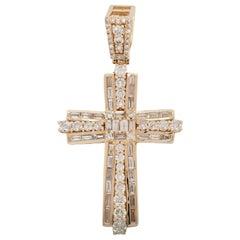 Estate 10 Karat Yellow Gold Round Baguette Cut Diamond Cross Pendant