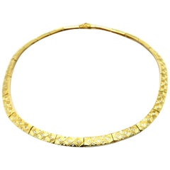 Estate 1.00 Carat Round Gypsy Set 18 Karat Yellow Gold Choker Necklace