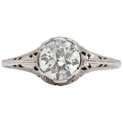 Estate 1.15 Carat Diamond Platinum Filigree Solitaire Ring