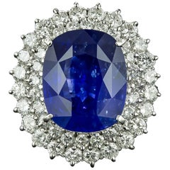 Estate 12.18 Carat Ceylon Sapphire Diamond Ring, GIA