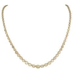 Estate 12.84 Carat Diamond Yellow Gold Riviera Necklace