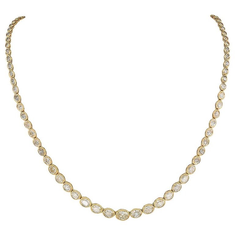 Estate 12.84 Carat Diamond Yellow Gold Riviera Necklace For Sale
