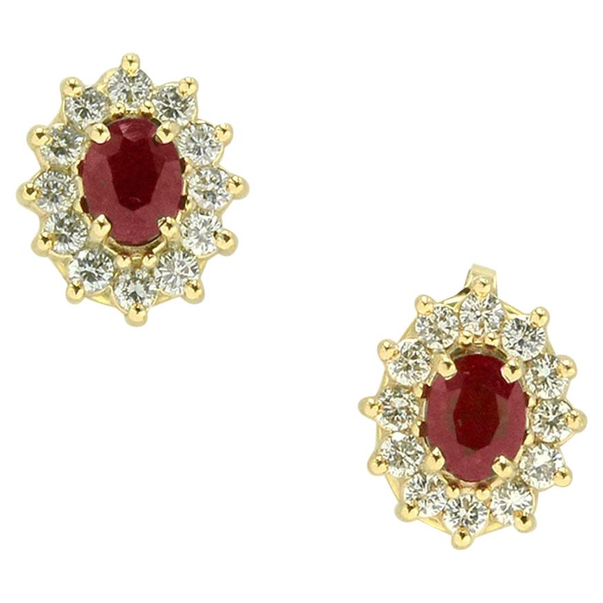Estate 1.30 Carat Ruby Diamond Earrings Halo Studs Pigeon Blood Red Yellow Gold