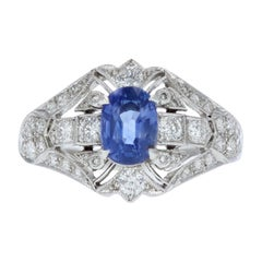 Estate 1.35 Carat Oval Blue Sapphire and Diamond Ring