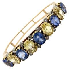 Estate 14 Karat Gold AGL Certified Blue and Yellow Sapphire and Diamond Bracelet