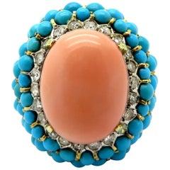 Estate 14 Karat Gold Angel Skin Coral, Diamond and Turquoise Large Fashion Ring