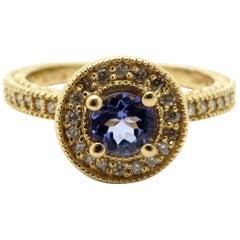 Estate 14 Karat Gold Designer Effy Tanzanite and Diamond Halo Fashion Ring
