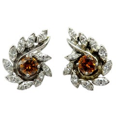 Estate 14 Karat Gold Fancy Brown and White Marquise Diamond Cluster Earrings