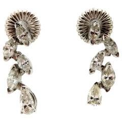 Estate 14 Karat Gold Marquise and Pear Shaped Diamond Drop Fashion Earrings