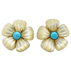 Estate 14 Karat Gold Mother of Pearl and Turquoise Flower Clip-On Earrings