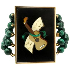 Estate 14 Karat Gold One-of-a-kind Malachite Guitar Fashion Statement Bracelet