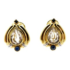 Estate 14 Karat Gold Pear Shaped Quartz, Sapphire and Diamond Fashion Earrings