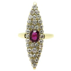 Estate 14 Karat Gold Victorian Style Navette Shaped Ruby and OEC Diamond Ring