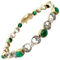 Estate 14 Karat Two-Tone Gold Emerald, Pearl and Diamond Art Deco Style Bracelet