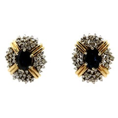 Estate 14 Karat Two-Tone Sapphire and Round Diamond Cluster Clip-On Earrings