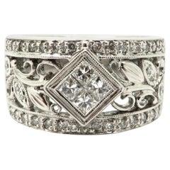 Estate 14 Karat White Gold 0.53 Carat Diamond Fashion Band Ring