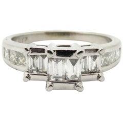 Estate 14 Karat White Gold 1.20 Carat Baguette and Princess Cut Diamond Ring