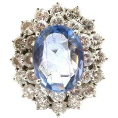 Estate 14 Karat White Gold 6.00 Carat Sapphire and Diamond Cocktail Ring