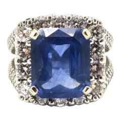 Estate 14 Karat White Gold 6.05 Emerald Cut Sapphire and Diamond Ring