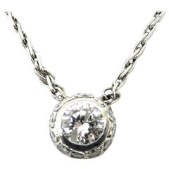 Estate 14 Karat White Gold Bezel Set Round Diamond Pave Necklace