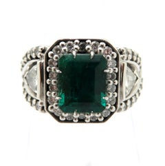 Estate 14 Karat White Gold Emerald, Round and Trillion Diamond Ring