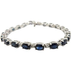 Estate 14 Karat White Gold Oval Sapphire and Diamond Bracelet