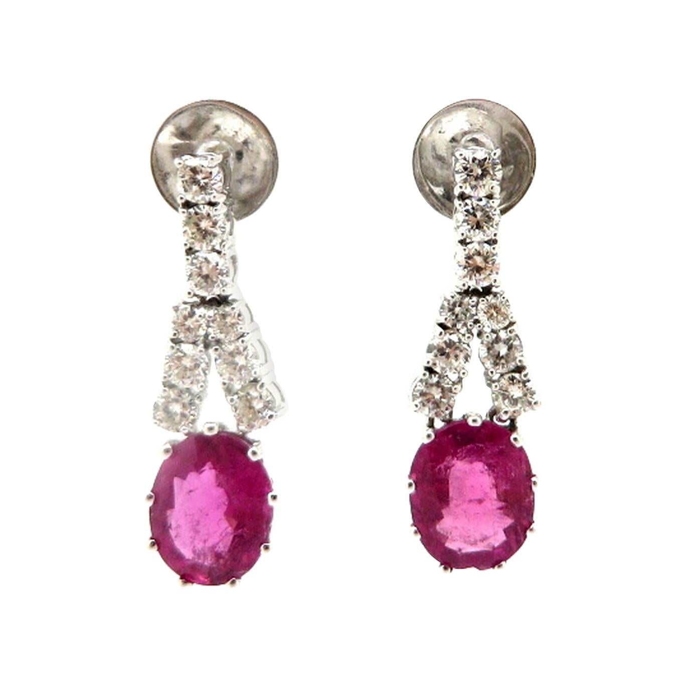 Estate 14 Karat White Gold Pink Tourmaline and Round Diamond Dangle Earrings