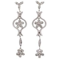 Estate 14 Karat White Gold Round Cut Diamond Flower Dangle Earrings