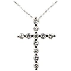 Estate 14 Karat White Gold Round Diamond Cross Necklace Pendant