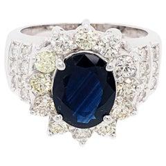 Estate 14 Karat White Gold Sapphire and Diamond Ring