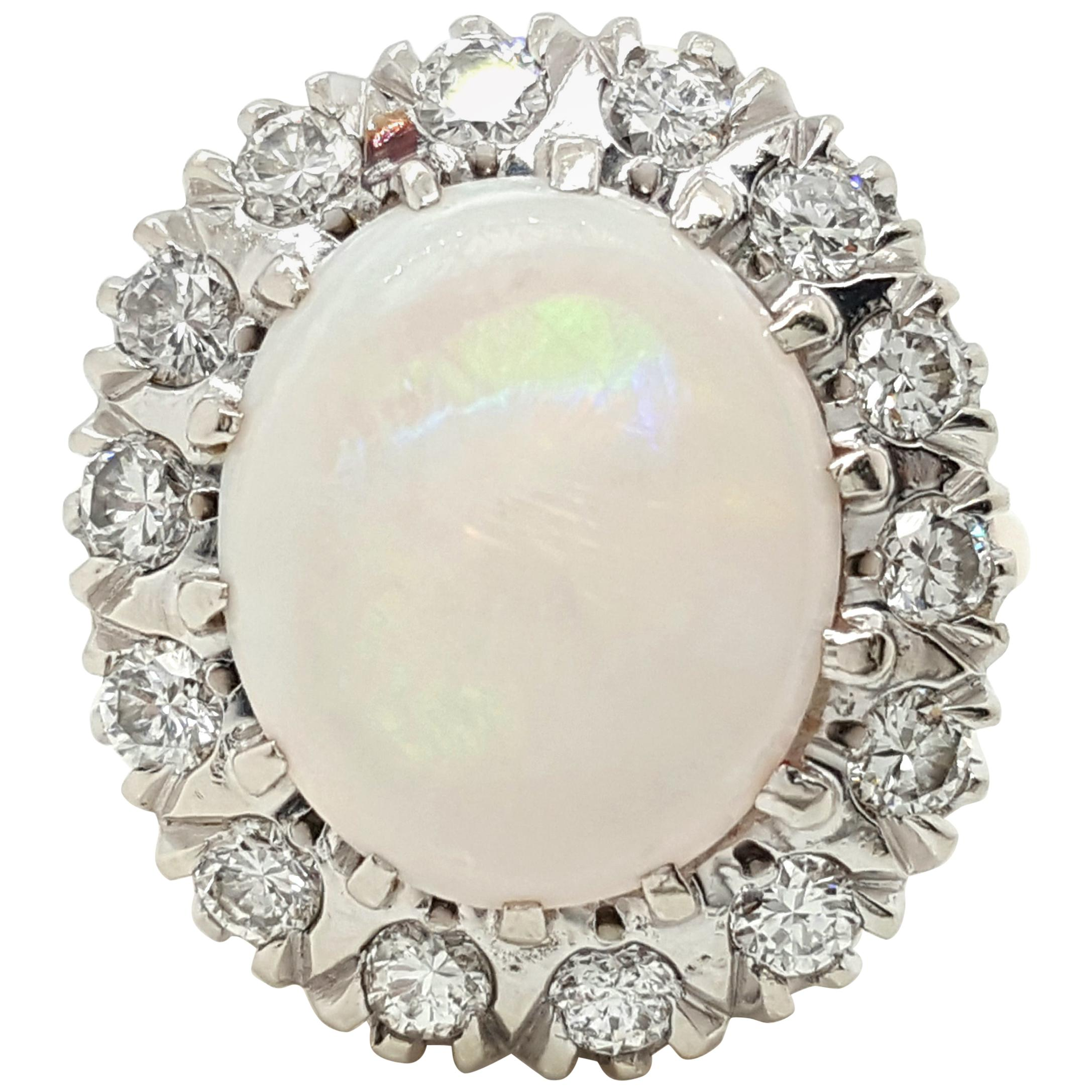 Estate 14 Karat Yellow and White Gold Oval Opal and Diamond Cocktail Ring