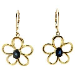 Estate 14 Karat Yellow Gold 1.80 Carat Oval Sapphire Flower Dangle Earrings