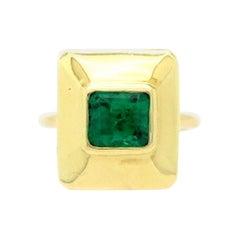 Estate 14 Karat Yellow Gold AGL Certified 2.00 Carat Emerald Cut Emerald Ring