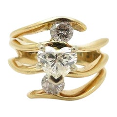 Estate 14 Karat Yellow Gold Bypass Round and Heart Diamond Engagement Ring