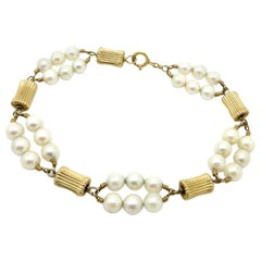 Estate 14 Karat Yellow Gold Cultured Pearl Fashion Antique Bracelet