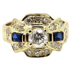Estate 14 Karat Yellow Gold Diamond and Sapphire Engagement Ring