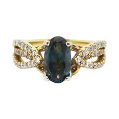 Estate 14 Karat Yellow Gold GIA Certified Alexandrite and Diamond Fashion Ring