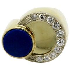 Estate 14 Karat Yellow Gold Men's Lapis Lazuli Cabochon Round Circle Ring