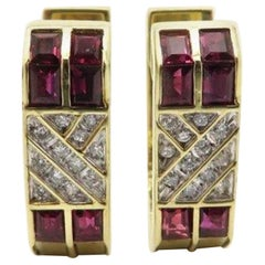 Estate 14 Karat Yellow Gold Round Brilliant Cut Diamond and Ruby Hoop Earrings