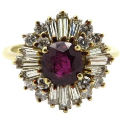 Estate 14 Karat Yellow Gold Ruby and Diamond Ballerina Style Ring