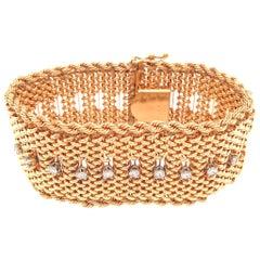 Estate 14 Karat Yellow Gold Wide Diamond Bracelet